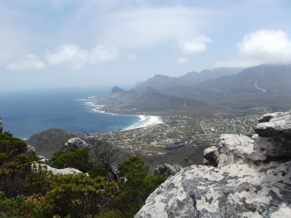 From the summit of Hangklip Peak, Pringle Bay village below